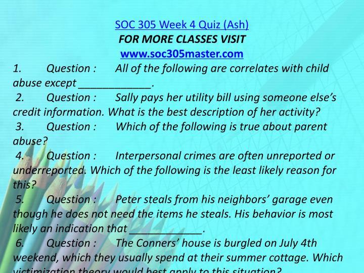 SOC 305 Week 4 Quiz (Ash)