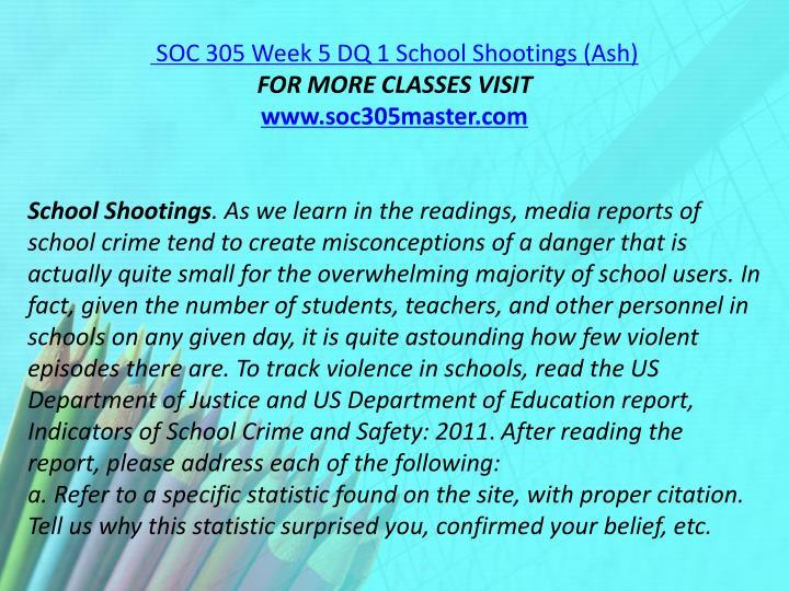 SOC 305 Week 5 DQ 1 School Shootings (Ash)