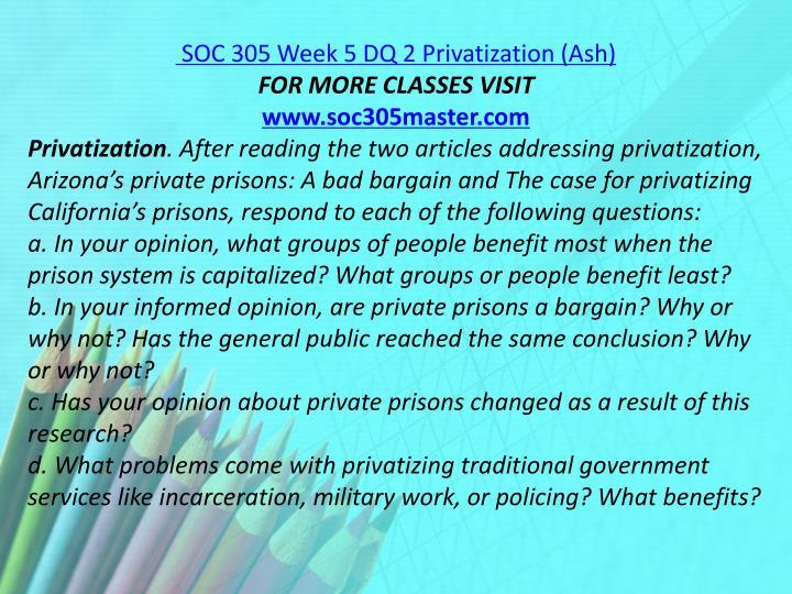 SOC 305 Week 5 DQ 2 Privatization (Ash)