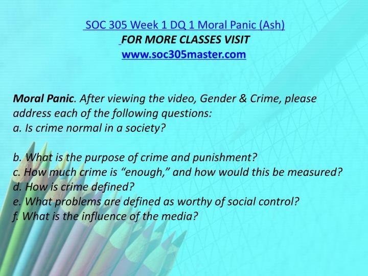 SOC 305 Week 1 DQ 1 Moral Panic (Ash)