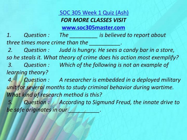 SOC 305 Week 1 Quiz (Ash)
