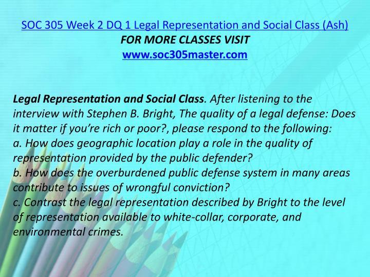 SOC 305 Week 2 DQ 1 Legal Representation and Social Class (Ash)