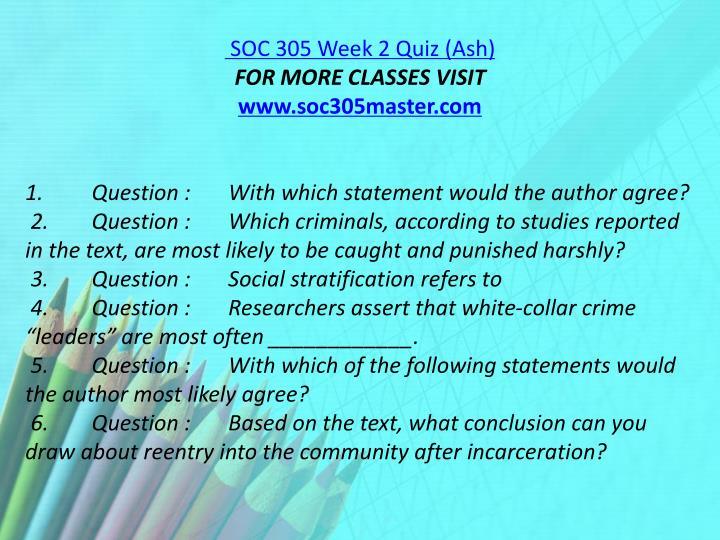 SOC 305 Week 2 Quiz (Ash)