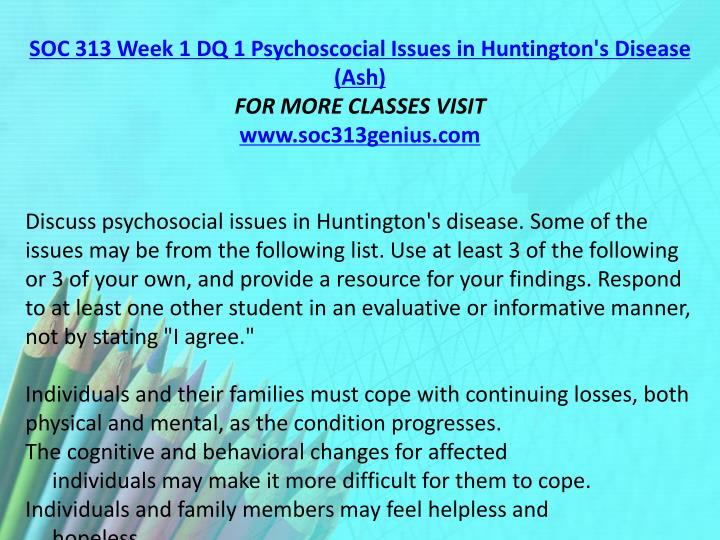 SOC 313 Week 1 DQ 1