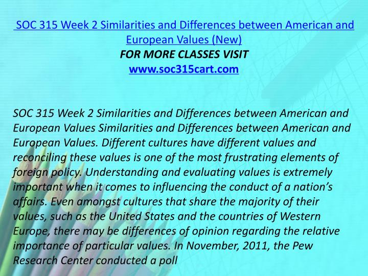 SOC 315 Week 2 Similarities and Differences between American and European Values (New)
