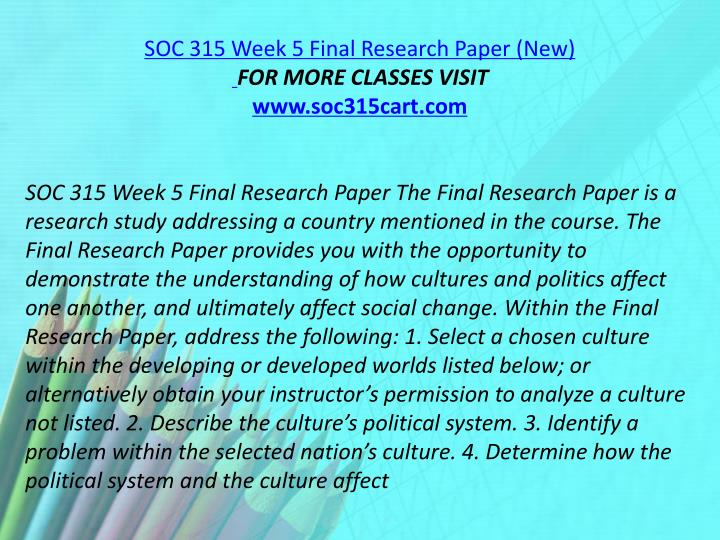 SOC 315 Week 5 Final Research Paper (New)