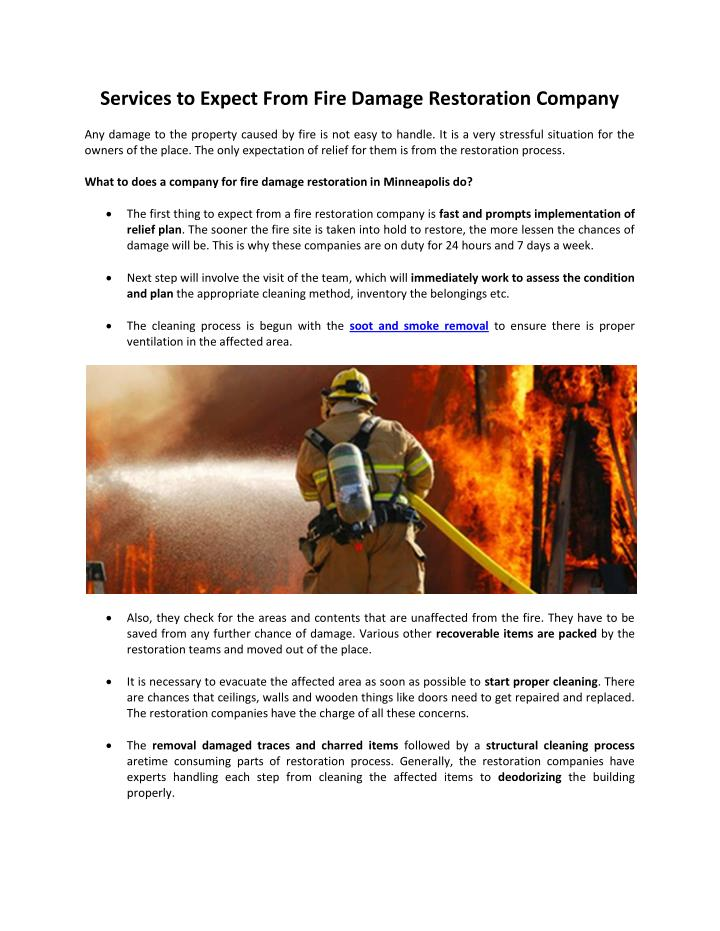 Services to Expect From Fire Damage Restoration Company