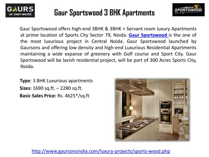 Gaur sportswood 3 bhk apartments