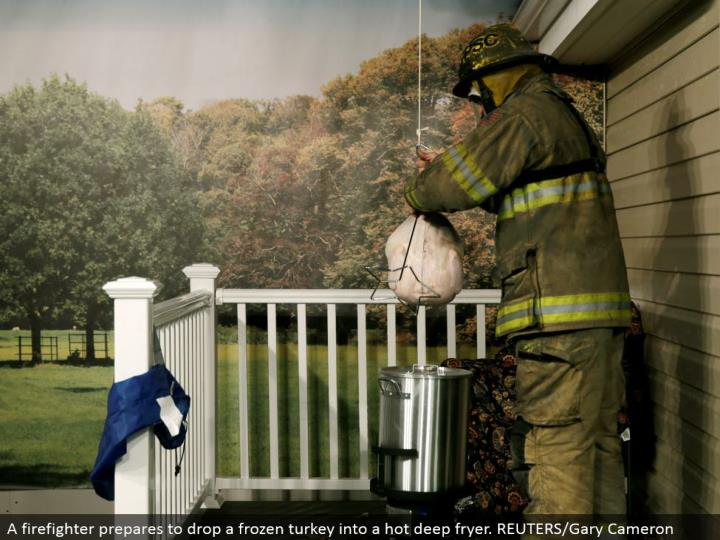 A firefighter plans to drop a solidified turkey into a hot profound fryer. REUTERS/Gary Cameron