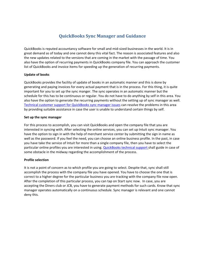 QuickBooks Sync Manager and Guidance