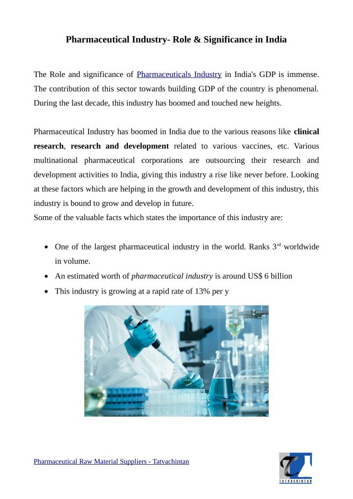 Pharmaceutical Industry- Role & Significance in India