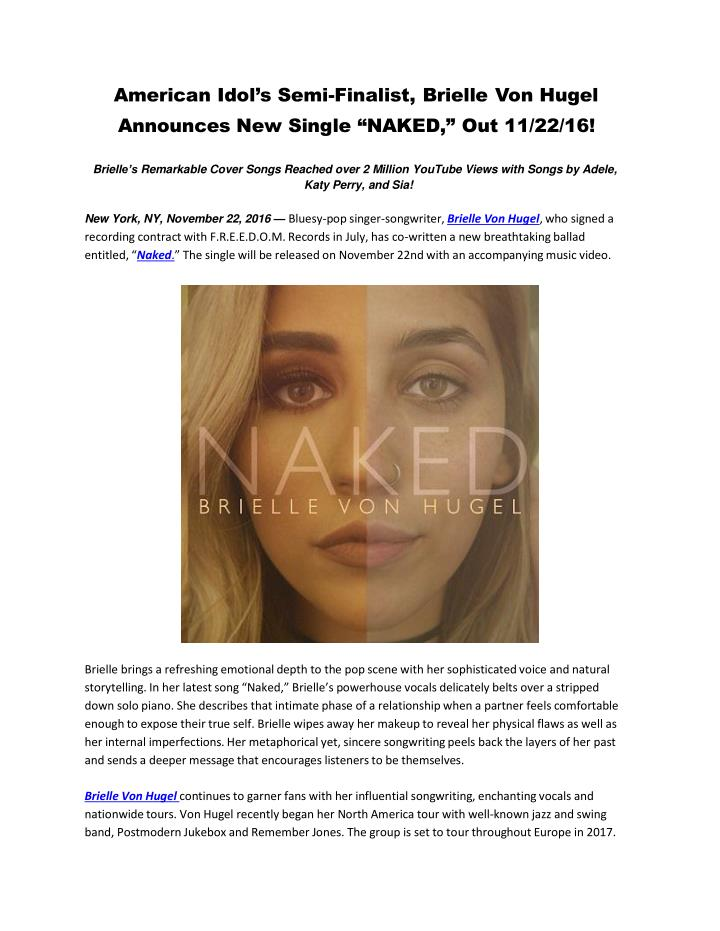American idol s semi finalist brielle von hugel announces new single naked out 11 22 16