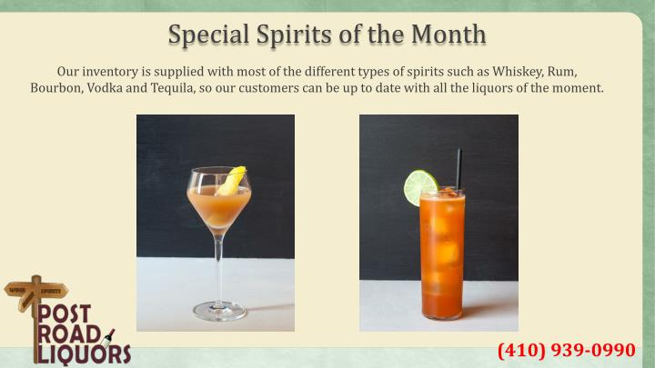 Special Spirits of the Month