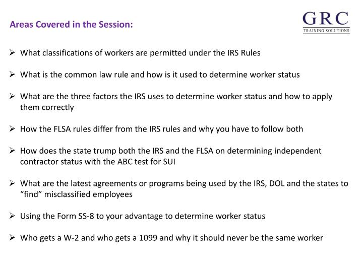 What classifications of workers are permitted under the IRS