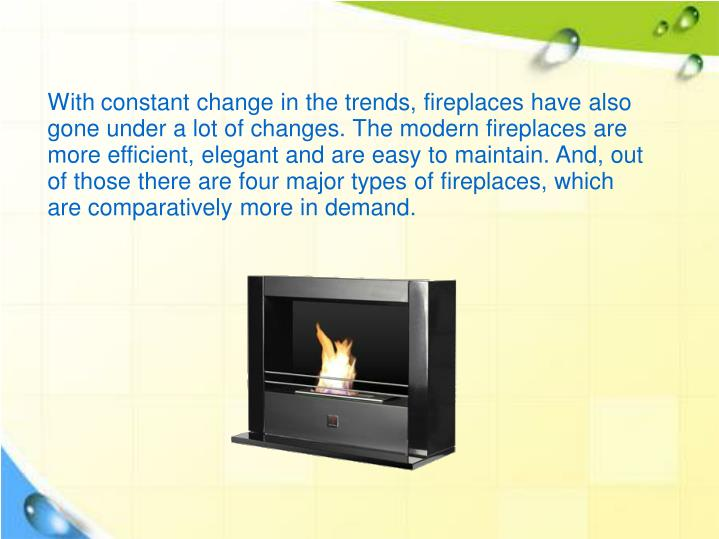 With constant change in the trends, fireplaces have also