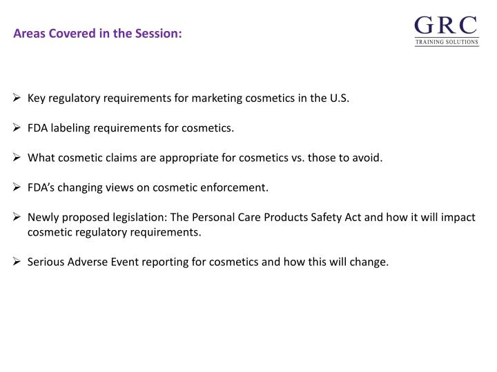 Key regulatory requirements for marketing cosmetics in the U.S