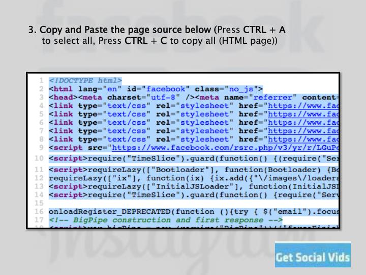 3. Copy and Paste the page source below (