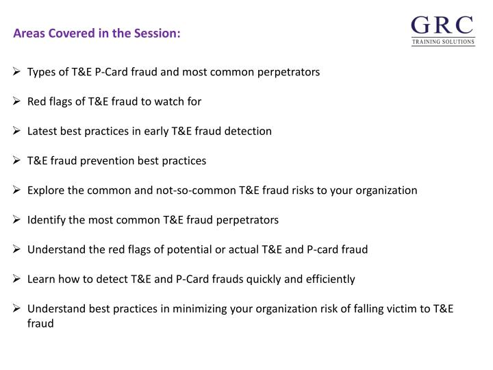 Types of T&E P-Card fraud and most common