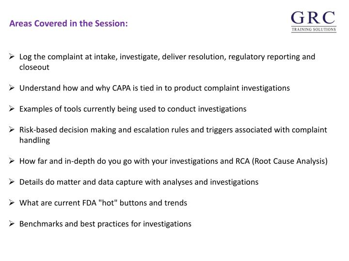 Log the complaint at intake, investigate, deliver resolution, regulatory reporting and