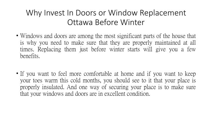 Why invest in doors or window replacement ottawa before winter