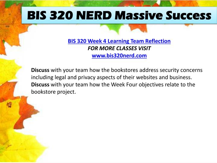 BIS 320 NERD Massive Success