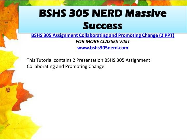 BSHS 305 NERD Massive Success