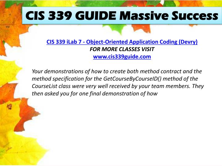 CIS 339 GUIDE Massive Success