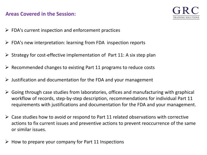 FDA's current inspection and enforcement