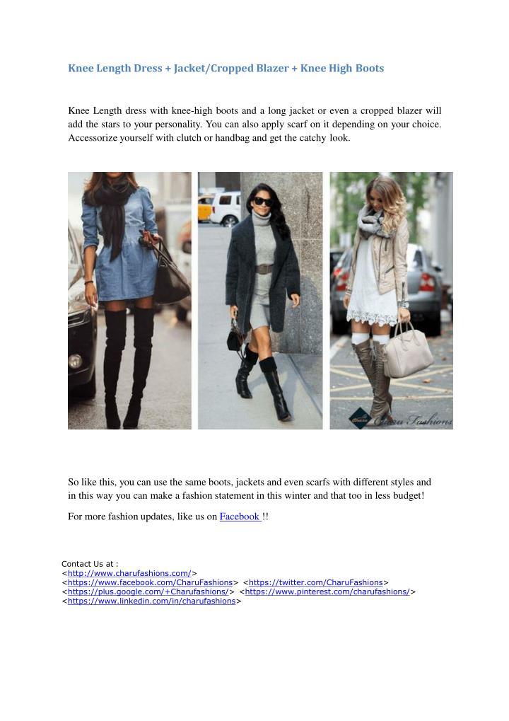 Knee Length Dress + Jacket/Cropped Blazer + Knee High