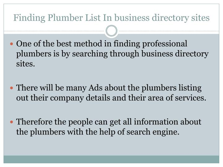 Finding Plumber List In business directory sites
