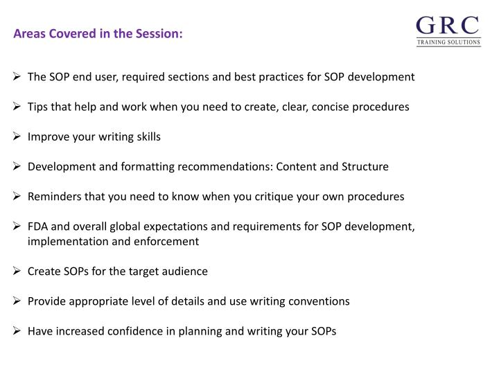 The SOP end user, required sections and best practices for SOP