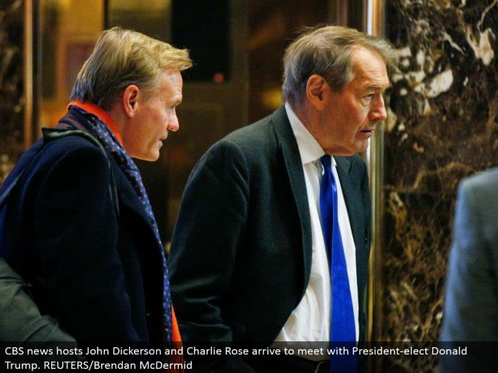 CBS news has John Dickerson and Charlie Rose touch base to meet with President-elect Donald Trump. REUTERS/Brendan McDermid