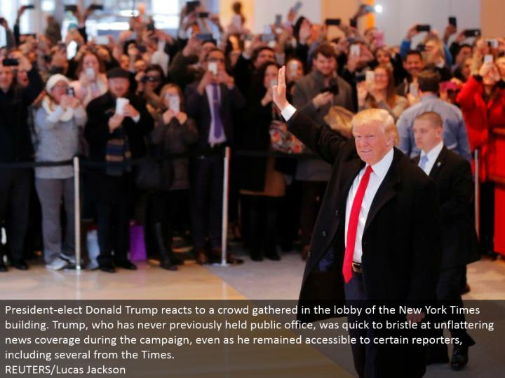 President-choose Donald Trump responds to a pack assembled in the anteroom of the New York Times building. Trump, who has never already held open office, rushed to abound at unflattering news scope amid the crusade, even as he stayed available to specific columnists, including a few from the Times. REUTERS/Lucas Jackson