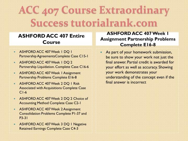 ASHFORD ACC 407 Entire Course