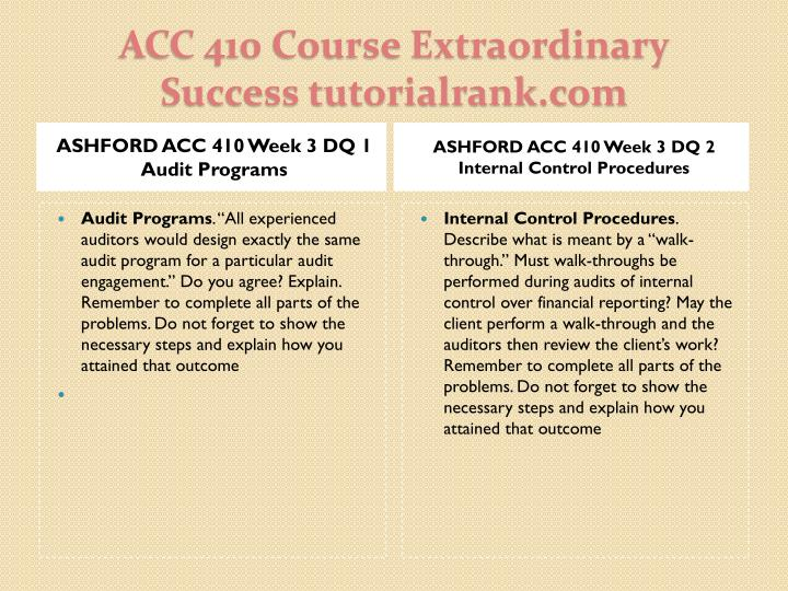 ASHFORD ACC 410 Week 3 DQ 1 Audit Programs
