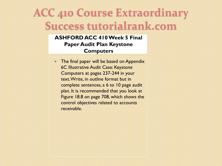 ASHFORD ACC 410 Week 5 Final Paper Audit Plan Keystone Computers