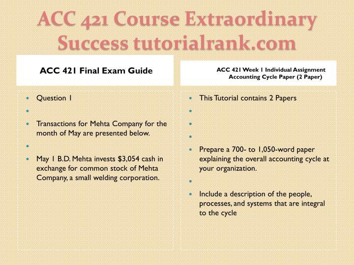 ACC 421 Final Exam Guide