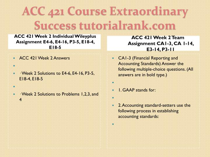 ACC 421 Week 2 Individual Wileyplus Assignment E4-6, E4-16, P3-5, E18-4, E18-5