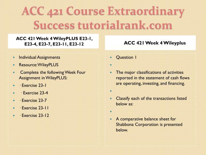 ACC 421 Week 4 WileyPLUS E23-1, E23-4, E23-7, E23-11, E23-12