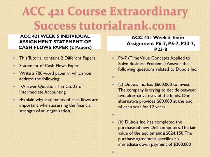 ACC 421 WEEK 5 INDIVIDUAL ASSIGNMENT STATEMENT OF CASH FLOWS PAPER (2 Papers)