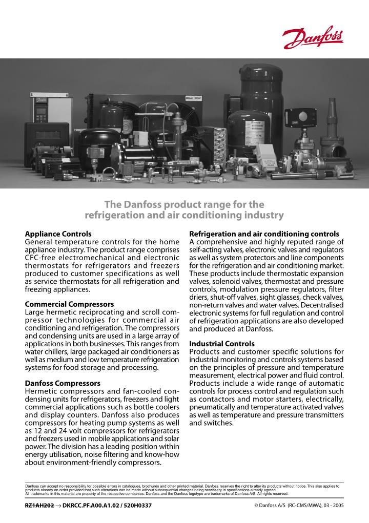 The Danfoss product range for the