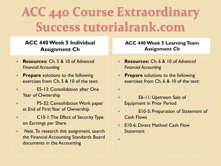 ACC 440 Week 5 Individual Assignment Ch