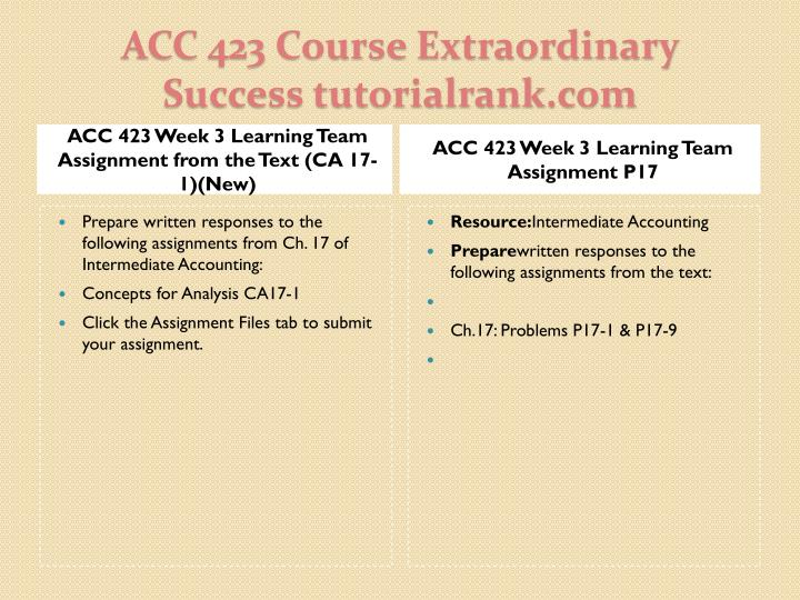 ACC 423 Week 3 Learning Team Assignment from the Text (CA 17-1)(New)
