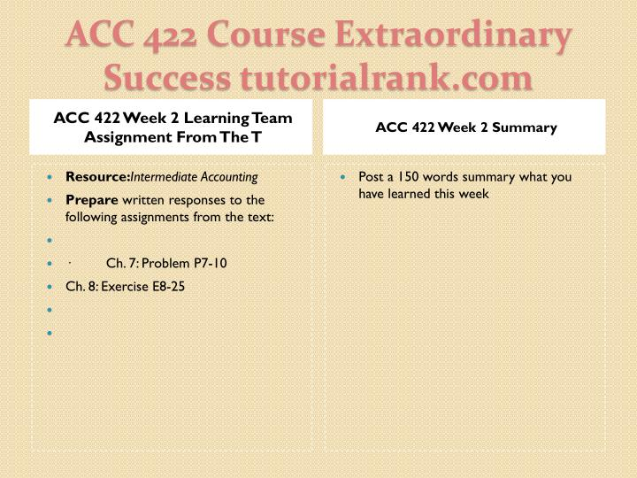 ACC 422 Week 2 Learning Team Assignment From The T