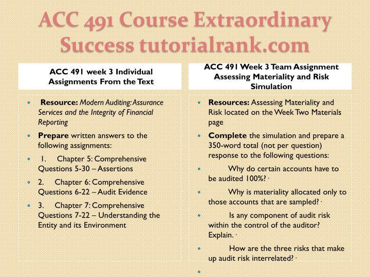 ACC 491 week 3 Individual Assignments From the Text