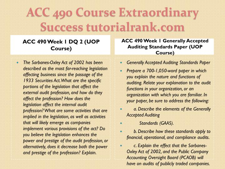 ACC 490 Week 1 DQ 2 (UOP Course)
