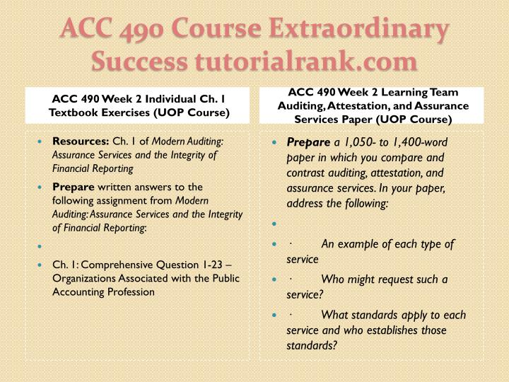 ACC 490 Week 2 Individual Ch. 1 Textbook Exercises (UOP Course)