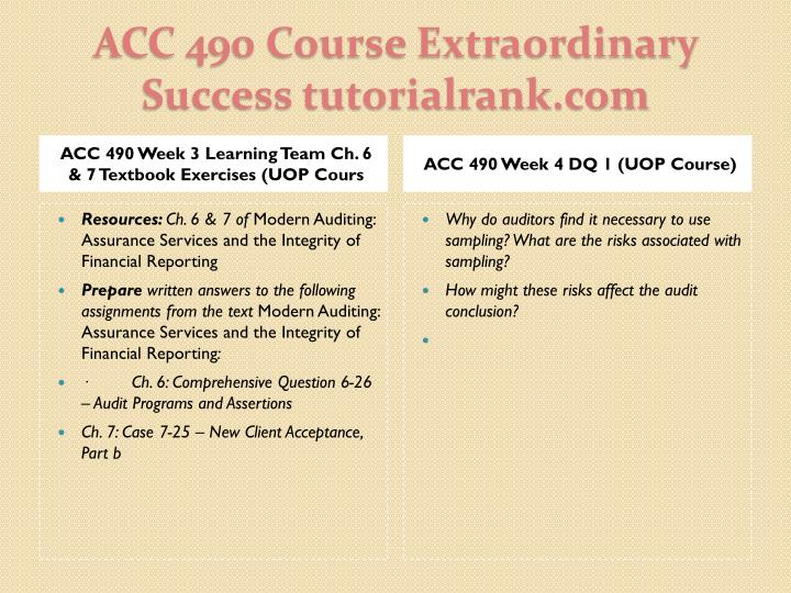 ACC 490 Week 3 Learning Team Ch. 6 & 7 Textbook Exercises (UOP Cours