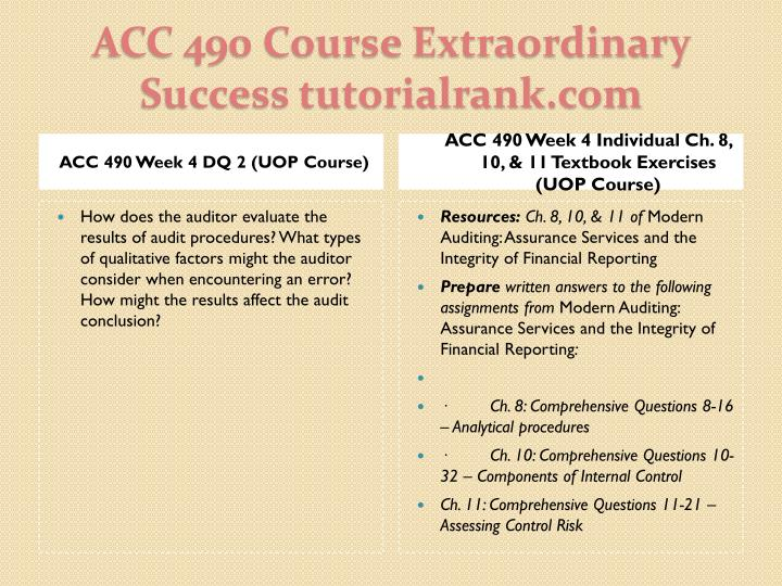 ACC 490 Week 4 DQ 2 (UOP Course)