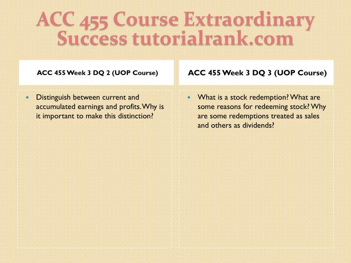 ACC 455 Course Extraordinary  Success tutorialrank.com